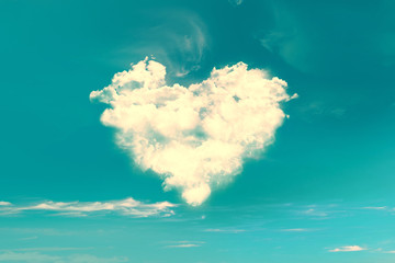 Clouds in the shape of a heart, vintage process