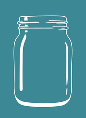 Glass transparent vintage doodle mason jar. Isolated jar. Vector hand drawn illustration eps10.