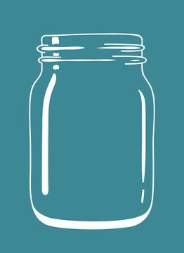 Glass transparent vintage doodle mason jar. Isolated jar. Vector hand drawn illustration eps10.