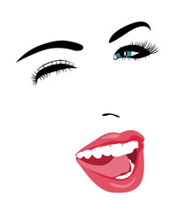 Simple pop art style blue eye woman face winking at camera with mouth open.  Easy editable layered vector illustration.