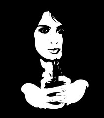 Black and white portrait of young dangerous female spy aiming gun at camera. Easy editable layered vector illustration.