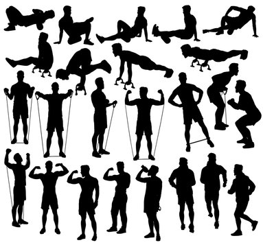Collection of different exercise silhouettes with resistance bands, foam roller and push up bars.  Easy editable layered vector illustration.