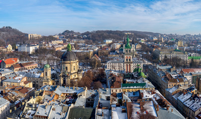 Winter panorama - landscape of Lvov in sunny day from tower