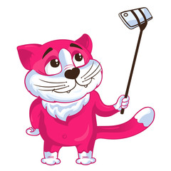 Cartoon cat taking a selfie on a monopod. Vector illustration.