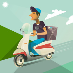 Boy Ride Scooter.Delivery service