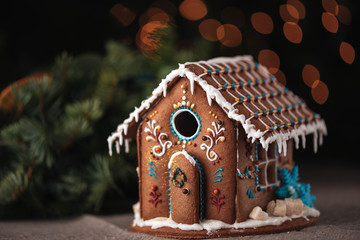 Wall Murals Christmas Christmas gingerbread house decorated with glaze