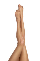 Close up of perfect female legs isolated on white background