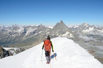 View of Matterhorn from the Breithorn summit, Zermatt, Switzerland