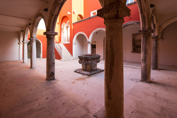 inner yard with ancient well in Zadar, Croatia