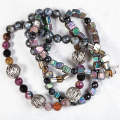 tangled necklace from rainbow pyrite stones