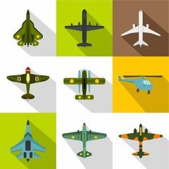 Combat aircraft icons set, flat style