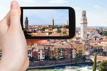 tourist photographs Verona city skyline