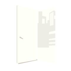 Cartoon illustration of open door