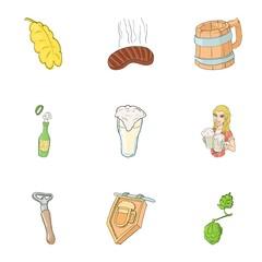 Alcoholic beverage icons set, cartoon style
