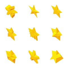 Star figure icons set, cartoon style