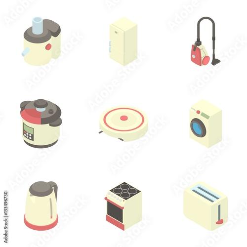 Electronic kitchen equipment icons set stock image and for Electronic kitchen set