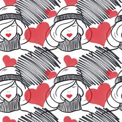 Heart Valentine Seamless Pattern Hand-Painted Illustration Background Texture Wallpaper Scrapbook Paper