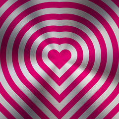 Magenta metal abstract heart technology background with circular polished, brushed concentric texture, chrome, silver, steel, aluminum for design concepts, web, prints, wallpapers. Vector illustration