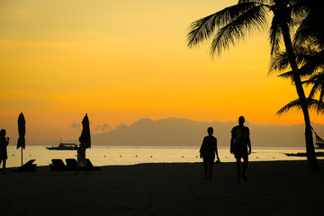 Silhouette of Couple Walking on Beach