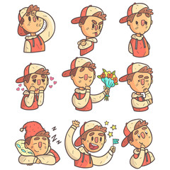 Boy In Cap And College Jacket Collection Of Hand Drawn Emoticon Cool Outlined Portraits