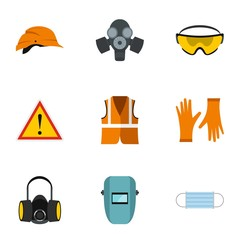 Construction ground icons set, flat style