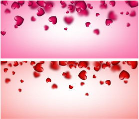 Valentine's love banner with hearts.