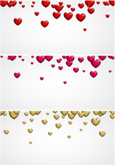 Fototapete - Valentine's love banner with hearts.