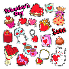 Happy Valentines Day Doodle for Scrapbook, Stickers, Patches, Badges. Vector illustration