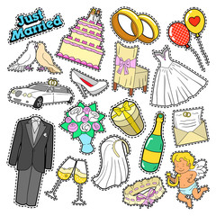 Wedding Just Married Doodle for Scrapbook, Stickers, Patches, Badges. Vector illustration
