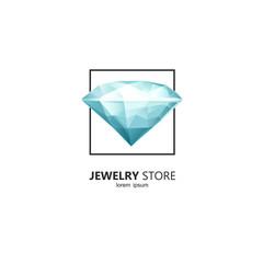 Diamond in a square frame - logo design template in vector.