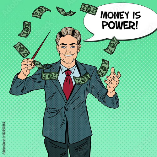 Pop Art Businessman Conducts Money with a Baton. Vector illustration