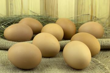 Eggs on sacking