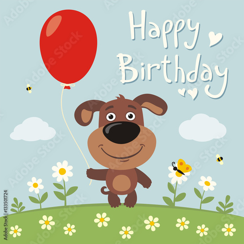 Happy Birthday Funny Puppy Dog With Red Balloon On Flower Meadow