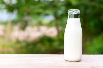 bottle of milk on wooden table with nature background.