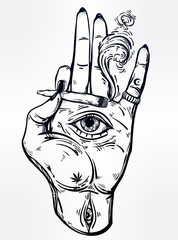 Hand holding a joint or cigarette with an eye.