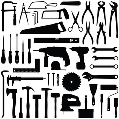 Construction tool collection - vector silhouette