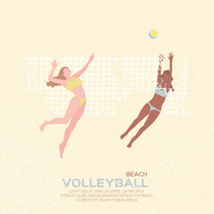 Beach Volleyball. Sport game. Funny young woman with ball.