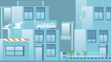 Flat Design Urban Street with Modern Houses - Vector Illustratio