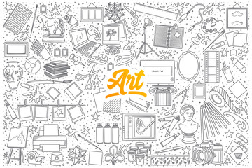 Hand drawn set of Art doodles with yellow lettering in vector