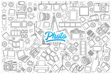 Hand drawn set of photo doodles with blue lettering in vector