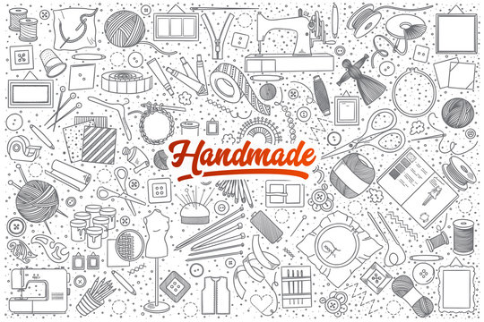 Hand drawn set of handmade doodles with red lettering in vector