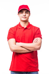 Deliveryman with crossed arms