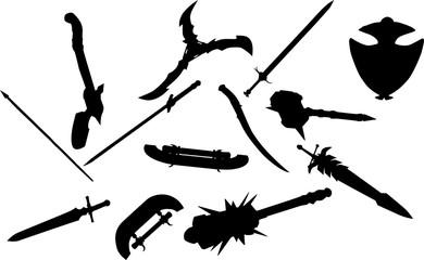 RPGの装備品のシルエット