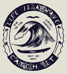 life is a wave - catch it. wave drawing motivational quote surfing print.