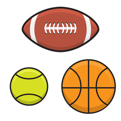 Vector set ball to  basketball, tennis, rugby rugby ball.Sports attributes. Elements of design of the websites of sports goods, banners of teams,