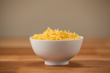 Grated cheese in a bowl