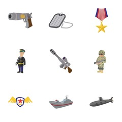 War equipment icons set, cartoon style