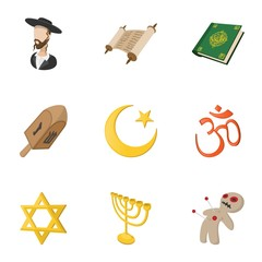 Religious faith icons set, cartoon style