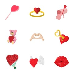Holiday of all lovers icons set, cartoon style