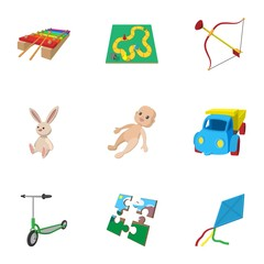 Child play icons set, cartoon style